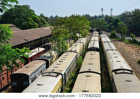 Railway Station In Yangon, Myanmar