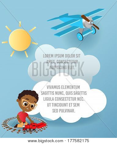 African American boy with glasses and toy train. Boy playing with train. Vector Paper art of cloud and plane flying in the sky. Template advertising brochure with space for text. Origami concept Banner. Banner with funny cartoon kids.