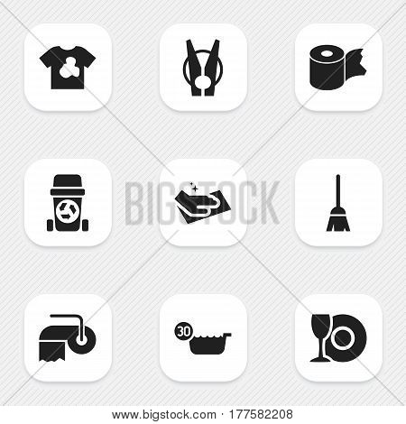 Set Of 9 Editable Hygiene Icons. Includes Symbols Such As Plate, Cold Water, Hygienic Roll And More. Can Be Used For Web, Mobile, UI And Infographic Design.