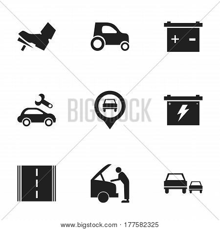 Set Of 9 Editable Transport Icons. Includes Symbols Such As Vehicle Car, Automotive Fix, Car Fixing And More. Can Be Used For Web, Mobile, UI And Infographic Design.