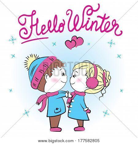 Cute loving couple , hello winter, vector illustration
