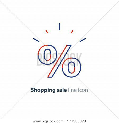 Sale advertising concept, attractive percentage sign, shopping special offer, blue red shining icon, vector mono line design