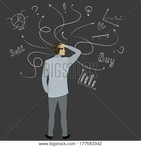Businessman Back view standing against doodle business sketch, stock vector illustration