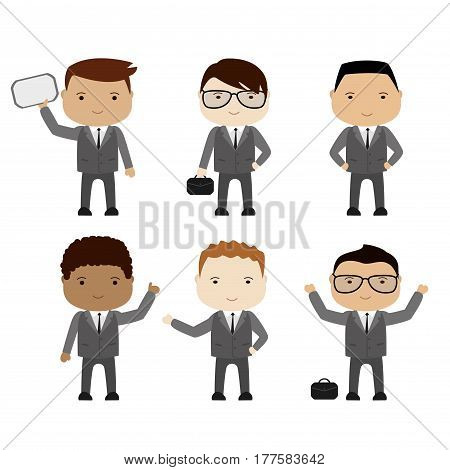 set of funny cartoon businessman or manager in various poses, different races, isolated on white, stock vector illustration
