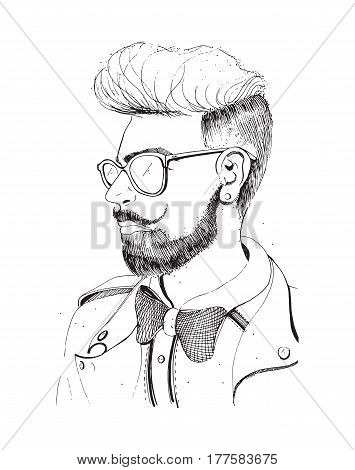 Hipster head with beard, sunglasses, Silhouette man fashion, retro, vintage style on white background.