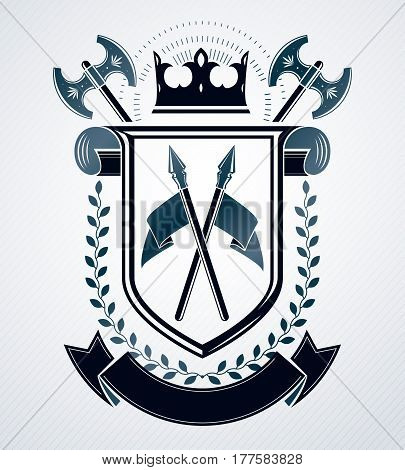 Heraldic vintage design vector emblem created with royal crown and armory