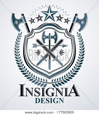 Heraldic design vector vintage emblem created with armory illustration and pentagonal stars