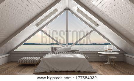 Classic Mezzanine Loft With Big Window And Sea Panorama, Bedroom, Summer Sunset Or Sunrise, Minimali