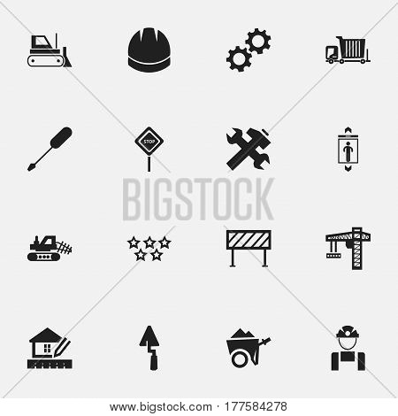 Set Of 16 Editable Structure Icons. Includes Symbols Such As Employee, Crane, Renovation And More. Can Be Used For Web, Mobile, UI And Infographic Design.