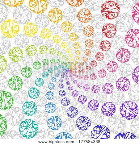 Abstract Rainbow Background Rotating Spiral of Spheres. Bright Circular Decorative Backdrop of Lace Circles.
