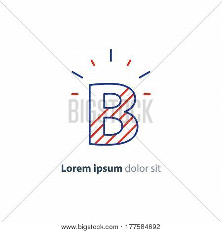 Letter B icon, decorative symbol, vector mono line logo