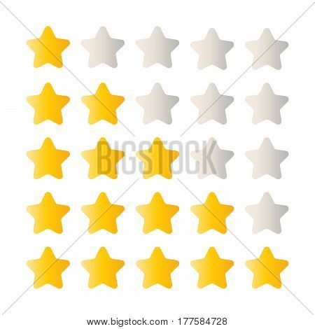 5 star rating set. Simple rounded shapes in grey and yellow.