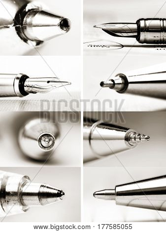 Collage of extreme close up shots of pen tips