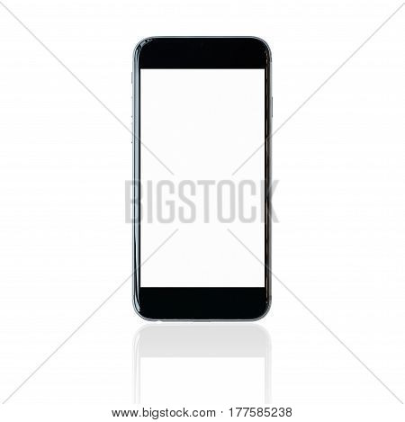 Smartphone with blank white screen and copy-space on white background. Elegant Design with Space for placement your backgroundTemplate mock up for montage your design and products
