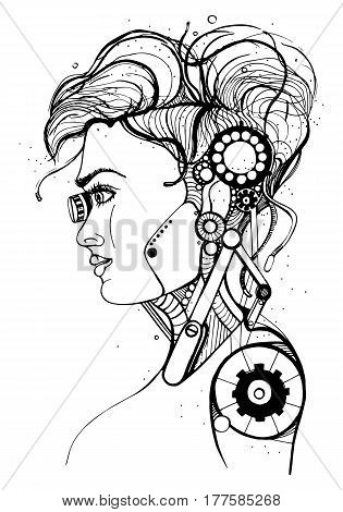 Head female cyborg, Concept silhouette, skull, profile beautiful girl. Contour vector illustration on white background.