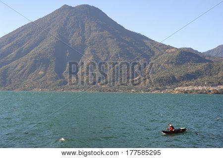 Lake Atitlan With Vulcano San Pedro