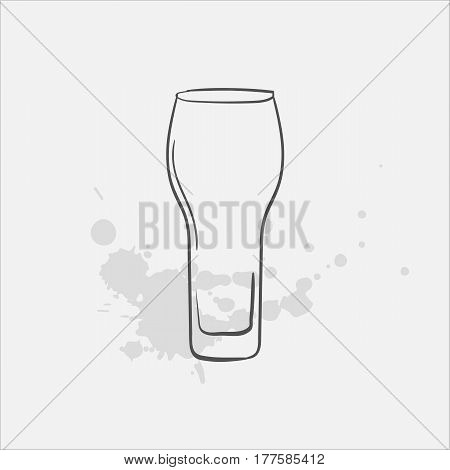 pilsner glass hand drawn icon - vector illustration