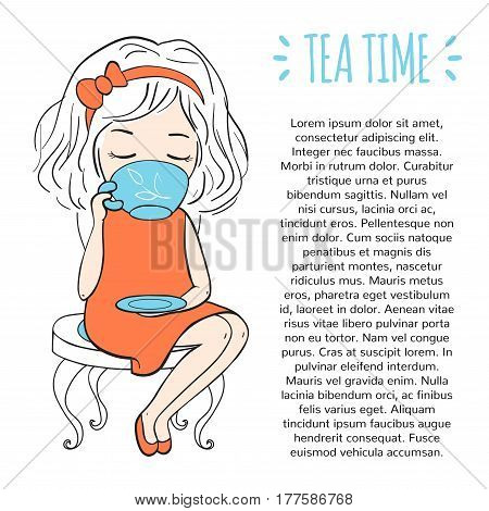 Tea time template. Procurement for the design of the booklet or pages of a magazine. Girl sitting on chair and drinking tea. Vector illustration of hand-drawn.