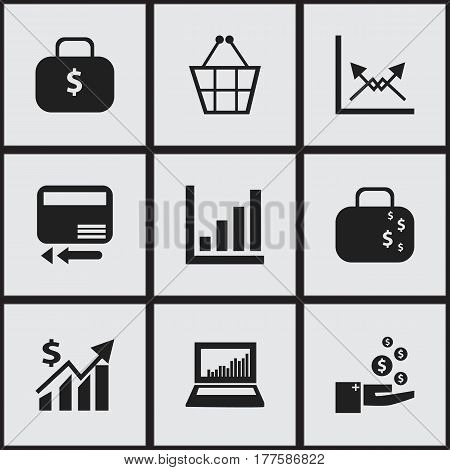 Set Of 9 Editable Analytics Icons. Includes Symbols Such As Cash Briefcase, Credit Card, Profit And More. Can Be Used For Web, Mobile, UI And Infographic Design.