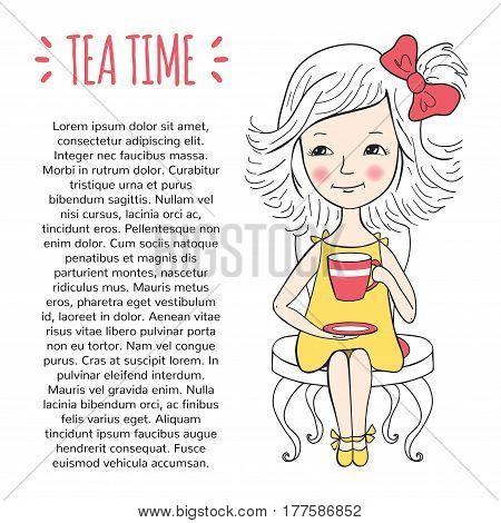 Tea time template. Procurement for the design of the booklet or pages of a magazine. Cute girl with a Cup of tea or coffee sitting on the chair. Illustration hand-drawn.