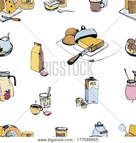 Dairy products hand drawn seamless pattern, Milky farming assortment. Vector colorful illustration on white background.