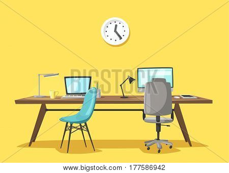 Modern workplace. Office work. Cartoon vector illustration. designer workspace. Furniture in interior. For web and banner. Freelance and coworking