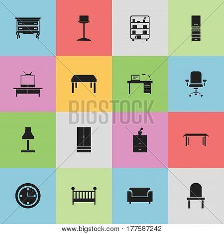 Set Of 16 Editable Furnishings Icons. Includes Symbols Such As Material Cupboard, Watch, Bookshelf And More. Can Be Used For Web, Mobile, UI And Infographic Design.