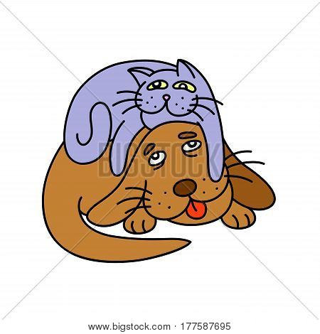 funny cat laying on the dog. vector illustration.