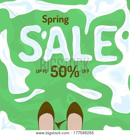 Flat spring sale vector banner, poster, flyer. Fresh creative design of sale template. Vector illustration with melting snow on grass, old shoes and broken heel.