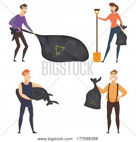 Set of four volunteers composition with young volunteers in cleaning, vector illustration