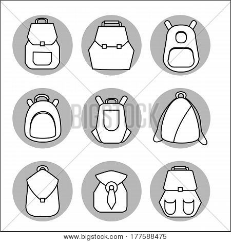 Backpack set. Stock vector illustration of rusksack city bag collection for students tourists hipsters. Flat style