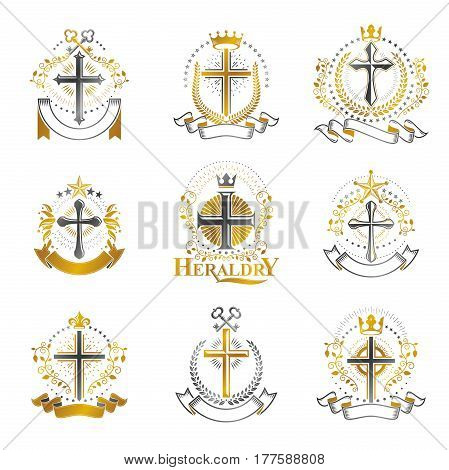 Crosses Religious emblems set. Heraldic Coat of Arms vintage vector collection.