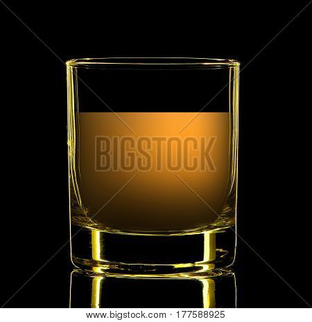Silhouette of colorful strong liquor classic glass with on black background