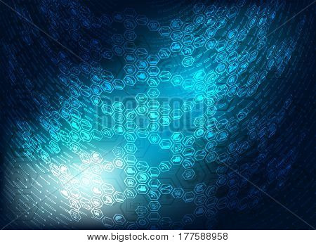 blue background in the shape of an ellipse with the attributes of the Internet, figures, computer and laptop