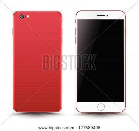 Red Smartphone Mockup.