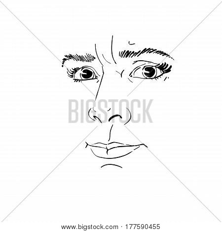 Vector portrait of irate woman illustration of good-looking but angry female. Person emotional face expression visage features.