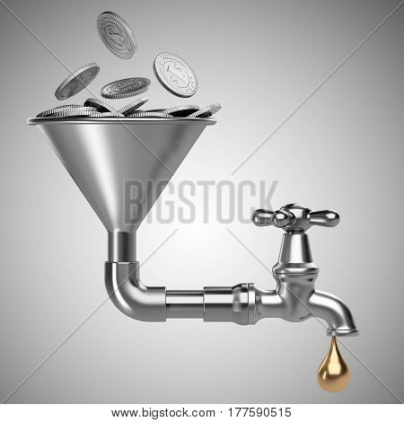 Steel funnel with pile silver coins and faucet and drop. Business investment - concept. 3D illustration isolated on white background.