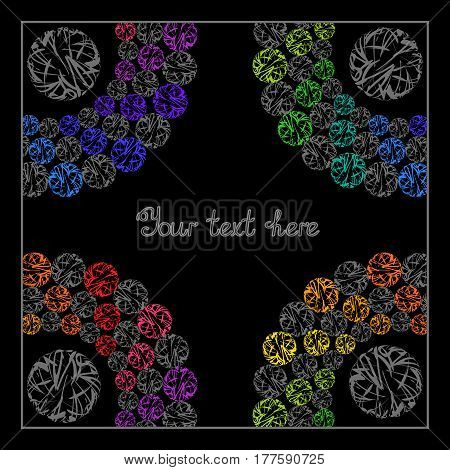 Bright Rainbow Templates for Text Presentation Cover. Abstract Frame with Colorful Whirling Circles on Black Background.