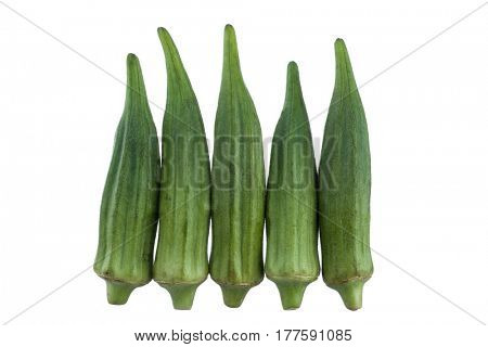 Close-up image of okra studio isolated on white background
