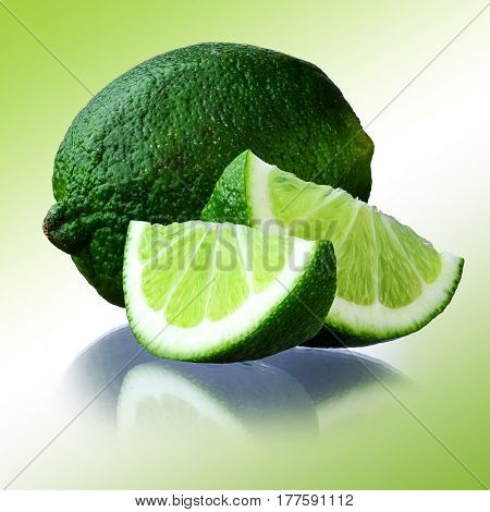 Close-up image of lime studio isolated on gradient green background