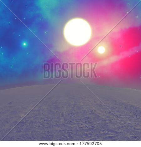 Stars and galaxy from a dusty planet surface. 3D render / illustration.