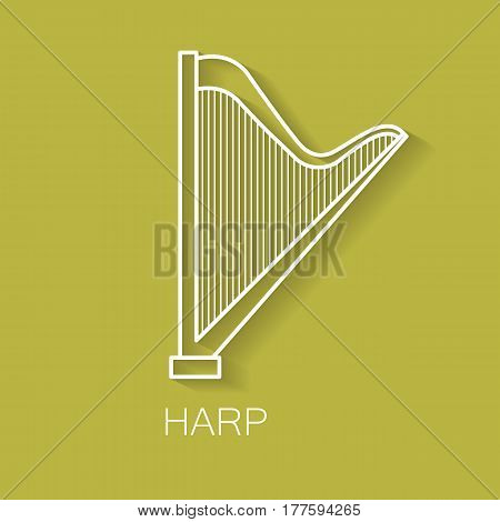 Music instrument retro line icon. Harp shape. Classic musical object. Vector decorative design background. Magazine cover. Marketing concept