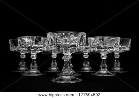 Black and white studio shot of crystal glass