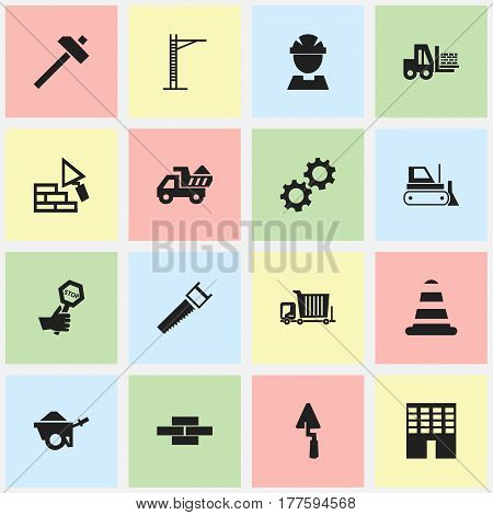 Set Of 16 Editable Building Icons. Includes Symbols Such As Cogwheel, Worker, Architecture And More. Can Be Used For Web, Mobile, UI And Infographic Design.