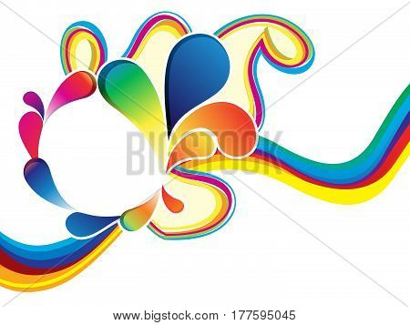 abstract artistic rainbow wave explode vector illustration