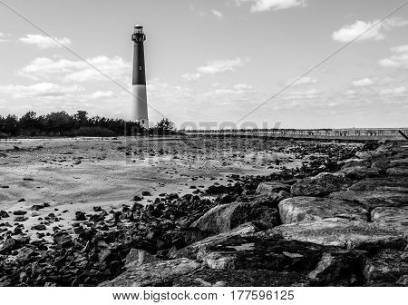 Barnegat Lighthouse on the Atlantic Ocean, New Jersey, black and white