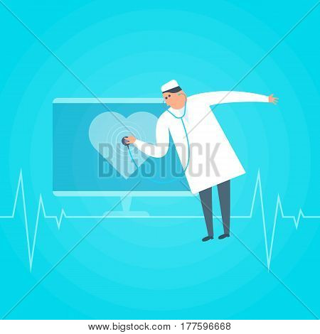 Doctor exams heartbeat remotely by computer. Online tele medicine flat concept illustration. Medic with stethoscope listens heart shape at monitor. Telemedicine telehealth vector design element.
