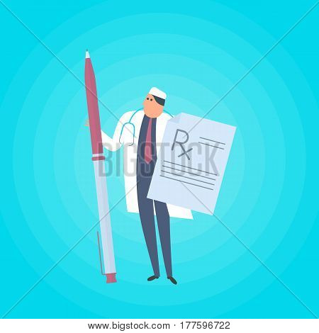 Doctor with pen and rx prescription document. Medicine healthcare flat concept illustration. Medic protects patient health. Health care vector design element for presentations web infographics.