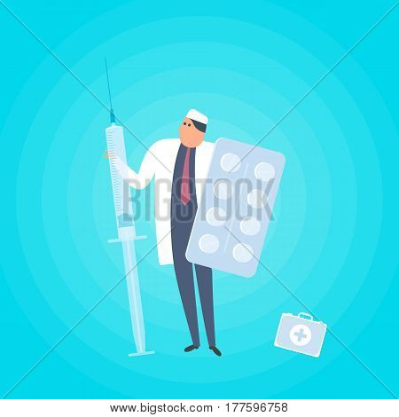Doctor with syringe and tablets. Medicine healthcare flat concept illustration. Medic protects patient health with pills vaccine injection cure and drug. Health care vector design element for web.