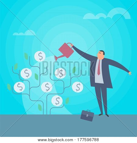Businessman is watering money tree to grow business. Increasing and growth business flat concept illustration. Man with watering can pours money. Profit income improve business vector design element